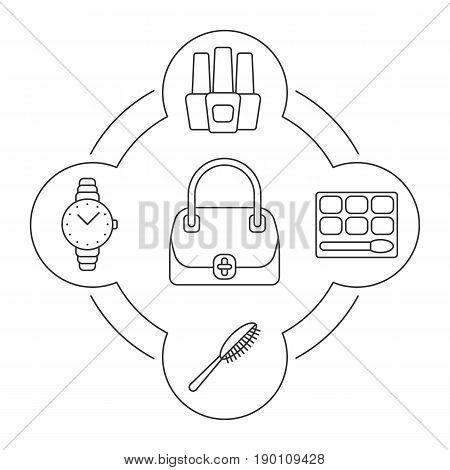 Woman's handbag contents linear icons set. Nail polish bottles, eye shadow, hair brush, wristwatch. Isolated vector illustrations