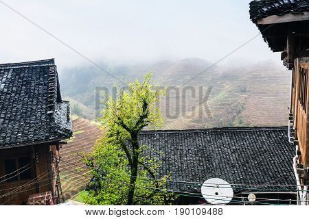 Cottages In Village And Terraced Fields