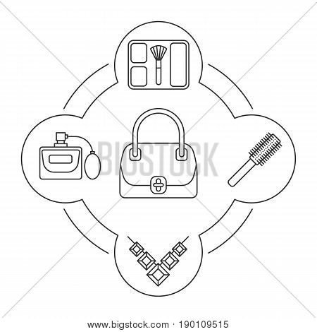 Women's bag contents linear icons set. Blusher, hair brush, gemstone necklace, perfume. Isolated vector illustrations