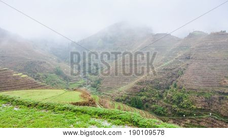 Above View Of Terraced Fields On Hills