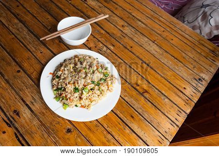 Top View Of Fried Rice With Vegetables