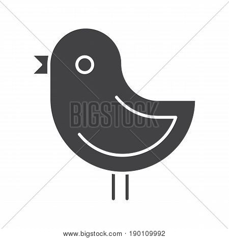 Chicken glyph icon. Silhouette symbol. Nestling. Negative space. Vector isolated illustration