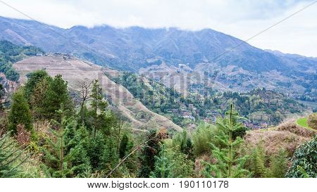 View Of Mountain Dazhai Country In Spring