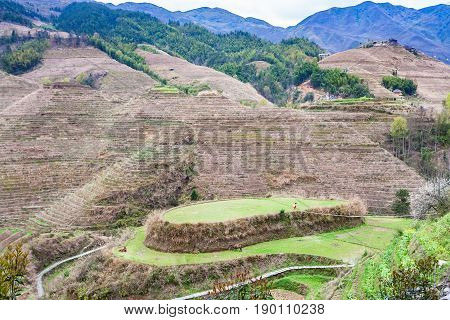 Terraced Gardens Near Dazhai Village In Country