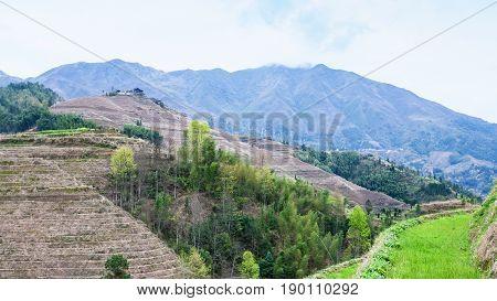 View Of Hills Near Dazhai Village In Country
