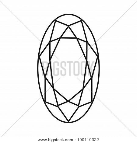 Diamond set icon. Vector Illustration. Shiny crystal sign. Brilliant stone. Black stroke isolated on white background. Fashion modern design. Flat element. Symbol gift jewel gem or royal rich.