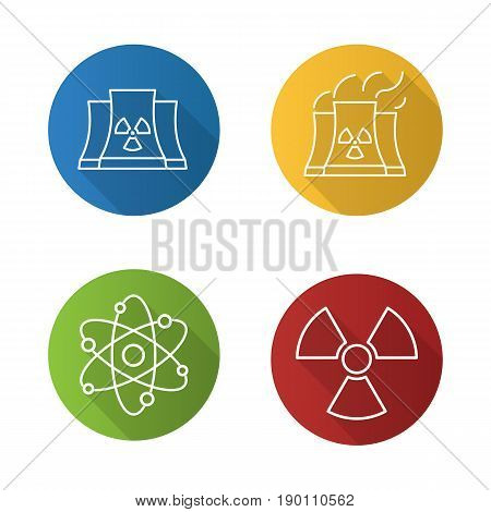 Atomic energy flat linear long shadow icons set. Nuclear power plant with smoke, radiation and atom symbols. Vector line illustration