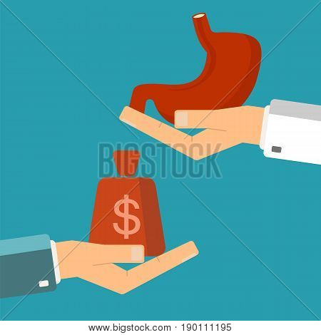 Hand of patient with money and a human stomach in doctor hands. Transplant buying or treatment stomach. Healthcare concept. Vector