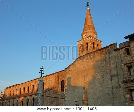 Bell Tower Of The Ancient Basilica Of St. Euphemia In The City O