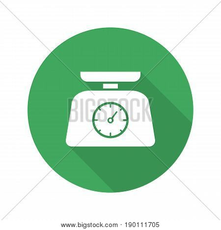 Kitchen food scales. Flat design long shadow icon. Vector silhouette symbol