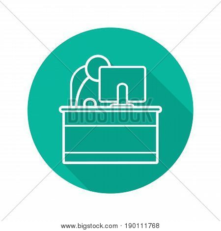 Secretary flat linear long shadow icon. Reception. Office worker. Vector line symbol