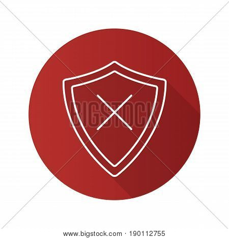 Security flat linear long shadow icon. Protection shield with cancel cross. Vector line symbol