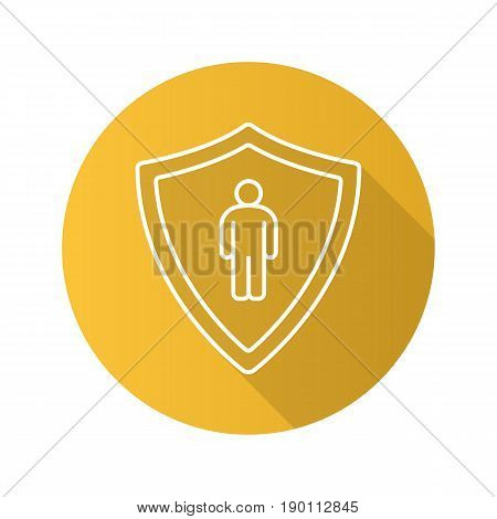 Bodyguard flat linear long shadow icon. Man inside protection shield. Vector line symbol