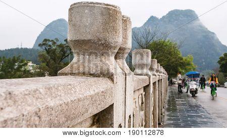Gongnong Bridge Over Yulong River In Yangshuo