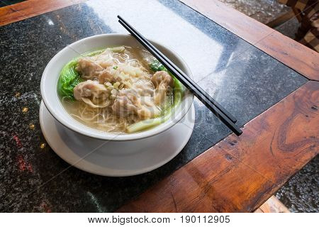 Dim Sum With Noodle Soup In Chinese Cafe