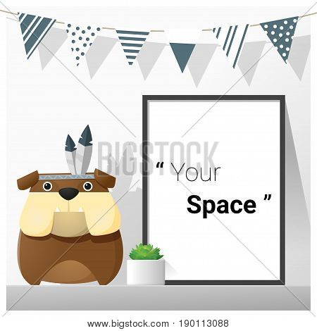 Interior poster mock up with empty frame and bulldog , vector , illustration