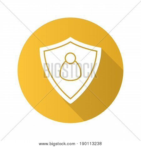 User security flat design long shadow icon. Protection shield with man figure. Vector silhouette symbol