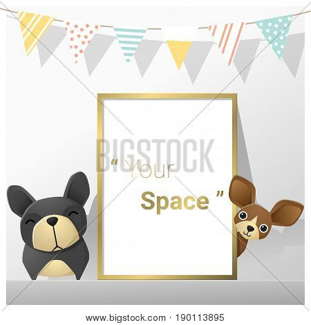 Interior poster mock up with empty frame and dogs , vector , illustration