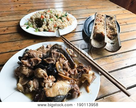 Chinese Dinner With Chicken And Mushroom