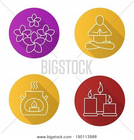 Spa salon flat linear long shadow icons set. Aromatherapy candles, yoga class, plumeria flowers. Vector line illustration