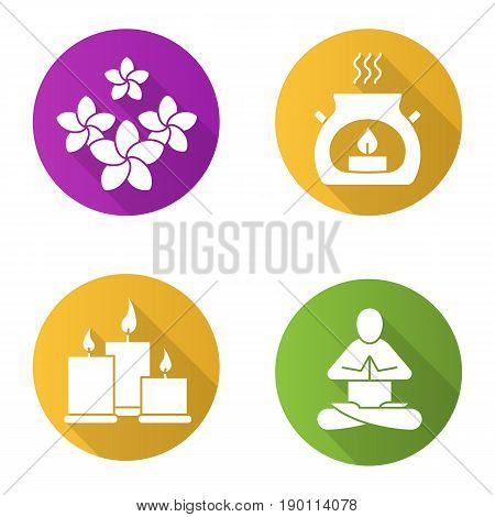 Spa salon flat design long shadow icons set. Aromatherapy candles, yoga class, plumeria flowers. Vector silhouette illustration