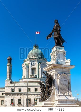 Monument to Samuel de Champlain, the founder of Quebec City - Canada