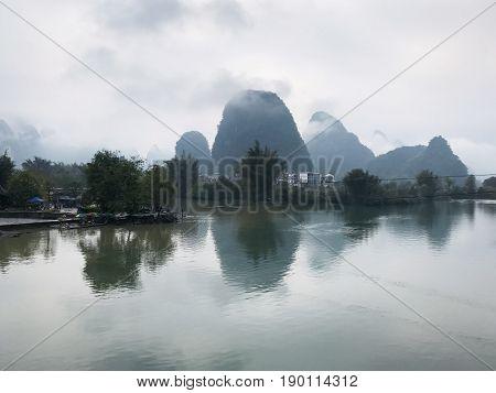 Calm Waters Of Yulong And Jinbao River In Yangshuo