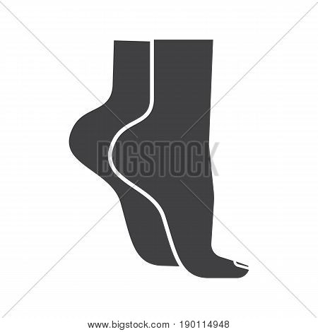Woman's feet standing on tiptoe glyph icon. Silhouette symbol. Negative space. Vector isolated illustration