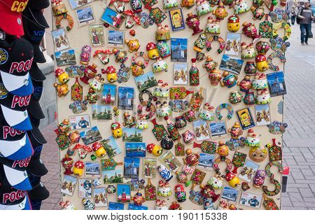 Russia, Moscow, June 7, 2017: Russian Gift And Souvenirs Shop On Famous Arbat Street.