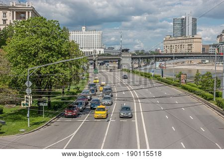 Russia, Moscow, June 7, 2017: View From Borodinsky Bridge