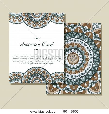 Invitation graphic card with mandala. Decorative ornament for card design wedding, bithday, party, greeting. Vintage mandala element. Vector illustration.