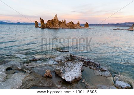 Salt Tufa Formations Sunset Mono Lake Panoramic California Nature Outdoors