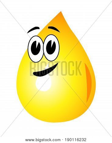 A drop of oil as a symbol logo golden yellow olive green eyes with black eyebrows and mouth
