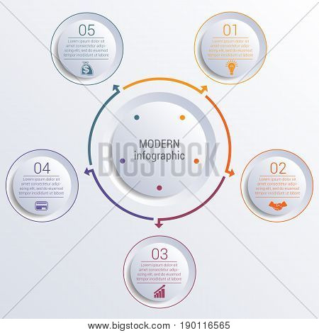 Vector template for infographic diagram with 5 options circles.
