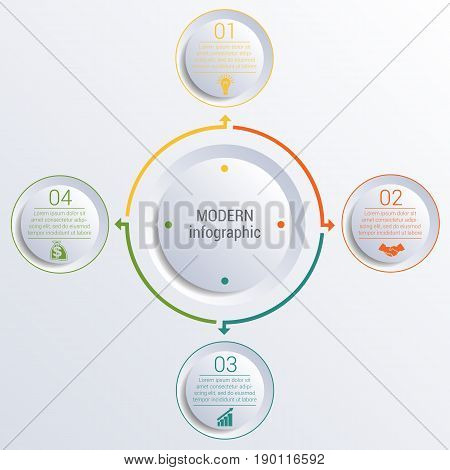 Vector template for infographic diagram with 4 options circles.