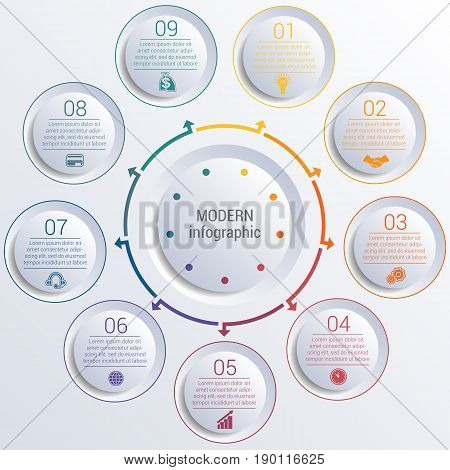 Vector template for infographic diagram with 9 options circles.