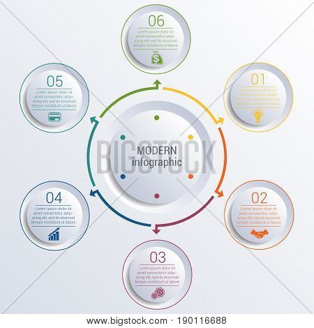 Vector template for infographic diagram with 6 options circles.