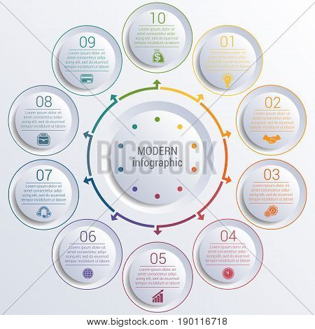 Vector template for infographic diagram with 10 options circles.