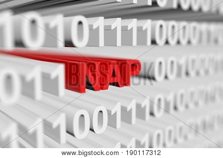 NAP in binary code with blurred background 3D illustration