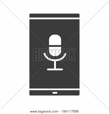 Smartphone voice recorder glyph icon. Silhouette symbol. Smart phone with microphone. Negative space. Vector isolated illustration