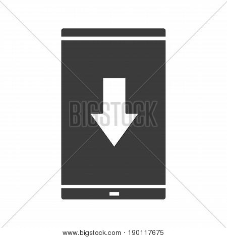 Smartphone app download glyph icon. Silhouette symbol. Smart phone with download arrow. Negative space. Vector isolated illustration