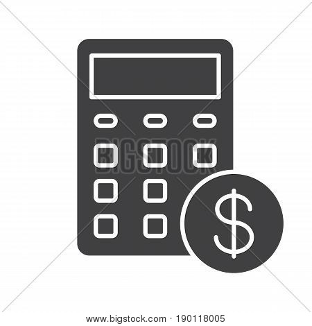 Calculations glyph icon. Accounting silhouette symbol. Calculator with dollar sign. Financial planning. Negative space. Vector isolated illustration