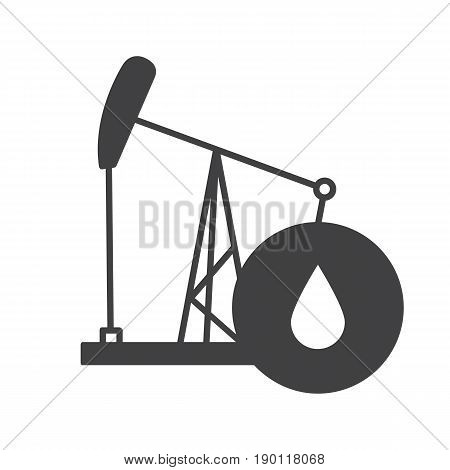 Oil derrick glyph icon. Silhouette symbol. Pump jack with oil drop. Negative space. Vector isolated illustration