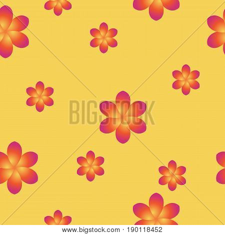 Breezy seamless pattern with frangipani. Blossom and leaves of Plumeria on pink background can be used for design of textile, print, wrapping paper or computer wallpaper. Spring or summer backdrop