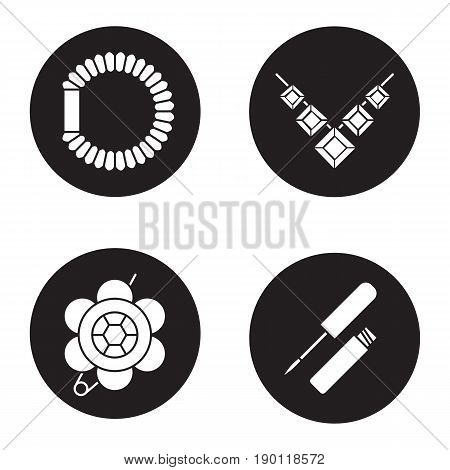 Women's accessories icons set. Brooch, necklace, hair scrunchy, lip gloss. Vector white silhouettes illustrations in black circles