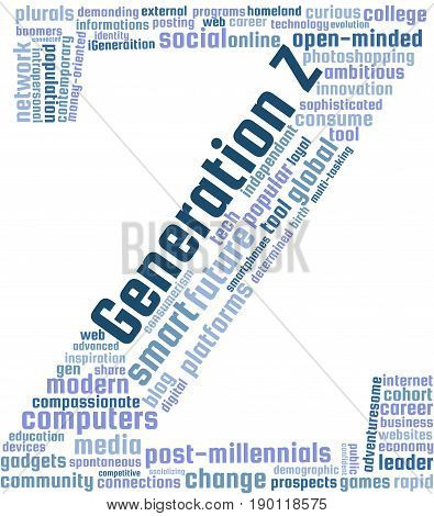 Generation Z Word Cloud Text Illustration. Generation Z related keyword tags isolated vector. Transparent.