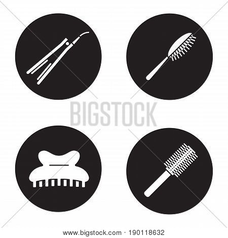 Women's hair accessories icons set. Hairbrushes, straightener, claw hair clip. Vector white silhouettes illustrations in black circles