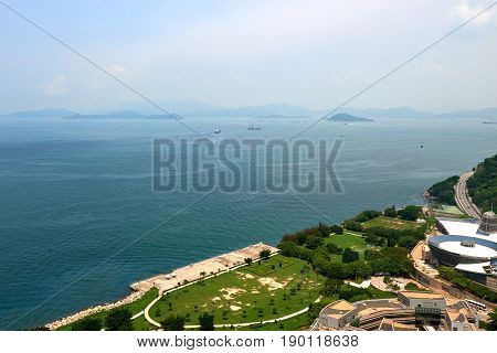 Sunny day ocean view from Hong Kong hig rise residential building