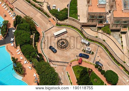 Aerial view of a traffic roundabout from Hong Kong high rise residence