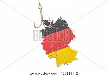 Fishing hook with map of Germany 3D rendering